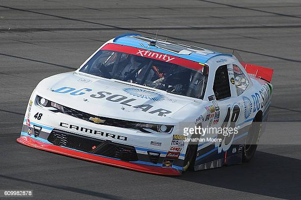 Brennan Poole driver of the DC Solar Chevrolet on track during practice for the NASCAR XFINITY Series VysitMyrtleBeachcom 300 at Kentucky Speedway on...