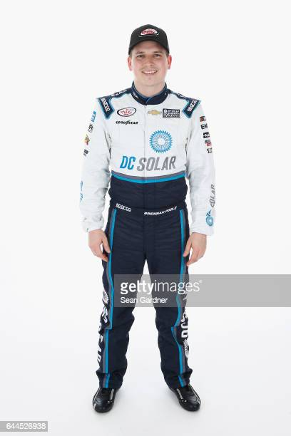 Brennan Poole driver of the DC Solar Chevrolet poses for a portrait at Daytona International Speedway on February 23 2017 in Daytona Beach Florida