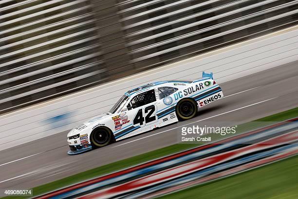 Brennan Poole driver of the DC Solar Chevrolet practices for the NASCAR XFINITY Series O'Reilly Auto Parts 300 at Texas Motor Speedway on April 9...