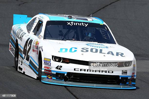 Brennan Poole driver of the DC Solar Chevrolet practices for the NASCAR XFINITY Series Lakes Region 200 at New Hampshire Motor Speedway on July 17...