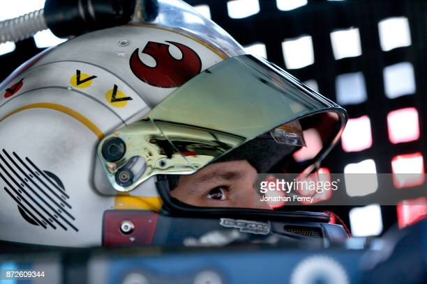 Brennan Poole driver of the DC Solar Chevrolet sits in his car during practice for the NASCAR XFINITY series Ticket Galaxy 200 at Phoenix...
