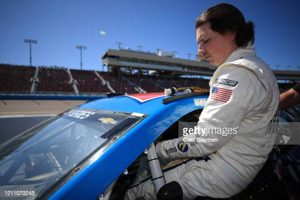 Brennan Poole driver of the Goettl Chevrolet prepares to drive during qualifying for the NASCAR Cup Series FanShield 500 at Phoenix Raceway on March...