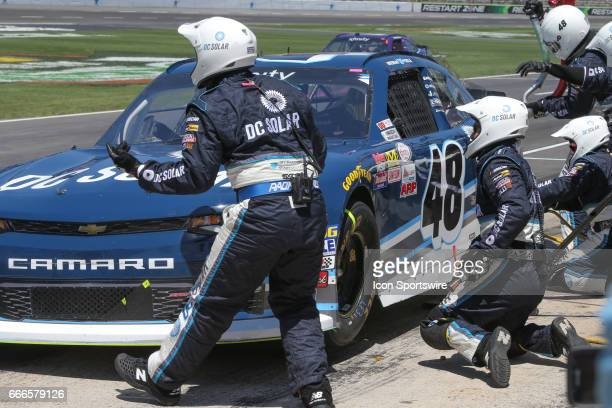 Brennan Poole makes a pit stop during the My Bariatric Solutions NASCAR Xfinity Series race on April 8 2017 at Texas Motor Speedway in Fort Worth TX