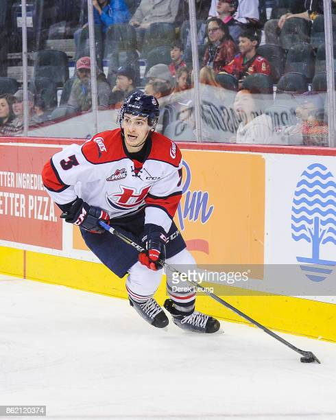 Brennan Riddle of the Lethbridge Hurricanes in action against the Calgary Hitmen during a WHL game at the Scotiabank Saddledome on October 15, 2017...