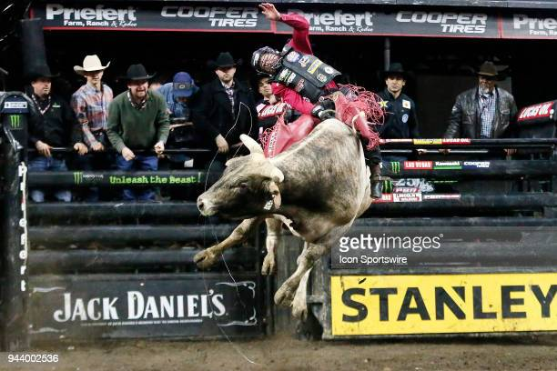 Brennon Eldred rides bull Losing My Religion during Championship round of the 25th Professional Bull Riders Unleash The Beast on April 8 at Denny...