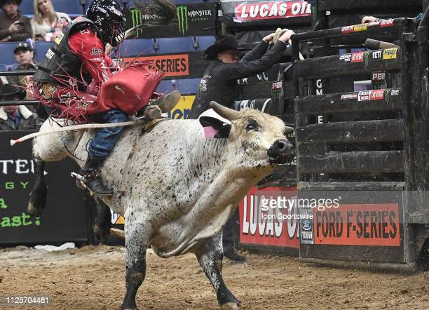 Brennon Eldred rides the bull Caddyshack during the Professional Bullriders Mason Lowe Memorial on February 16 at Enterprise Center St Louis MO