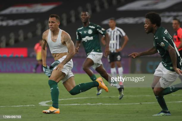 Breno Lopes of Palmeiras celebrates after scoring a goal during the final of Copa CONMEBOL Libertadores 2020 between Palmeiras and Santos at Maracanã...