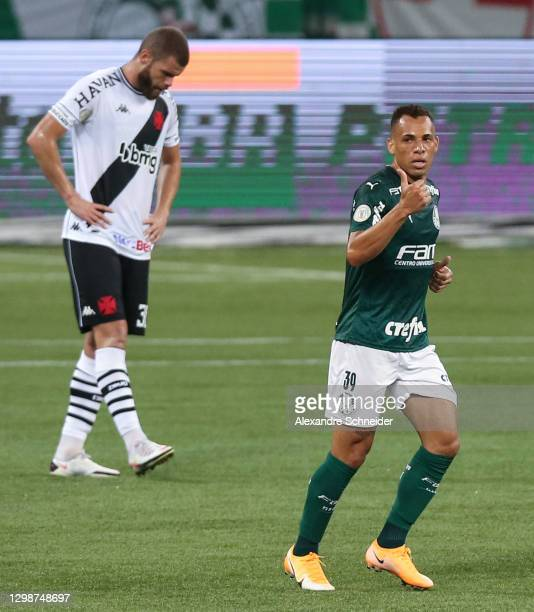 Breno Lopes of Palmeiras celebrates after scoring the first goal of his team during a match between Palmeiras and Vasco da Gama as part of...