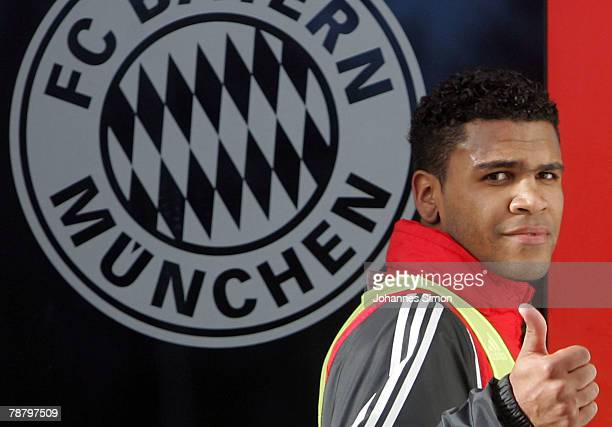 Breno new recruit of FC Bayern Munich Soccer Club holds his thumb up after his first training session at Saebener Strasse Training ground on January...