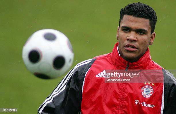 Breno new recruit of FC Bayern Munich Soccer Club takes part at a first training session at Saebener Strasse Training ground on January 7 2008 in...