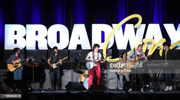 """Brenock O'Connor and Johnny Newcomb with the cast from """"Sing Street"""" during the BroadwayCon 2020 First Look at the New York Hilton Midtown Hotel on..."""