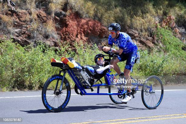 Brent and Kyle Pease compete on the bike during the IRONMAN World Championships brought to you by Amazon on October 13 2018 in Kailua Kona Hawaii