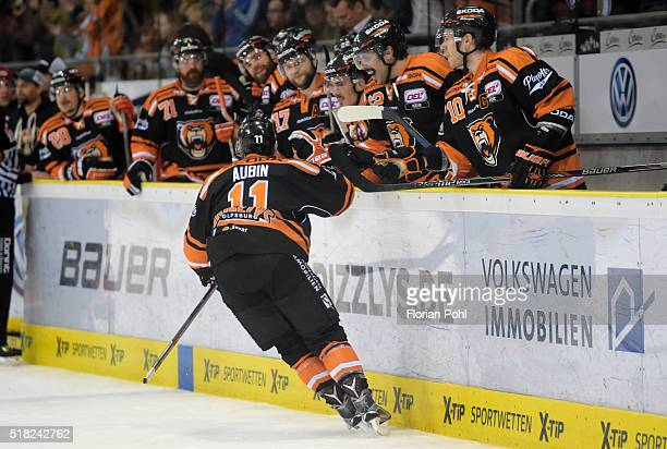 Brent Aubin and Tyler Haskins of the Grizzlys Wolfsburg celebrate after scoring the 42 during the game between the Grizzlys Wolfsburg and Thomas Sabo...