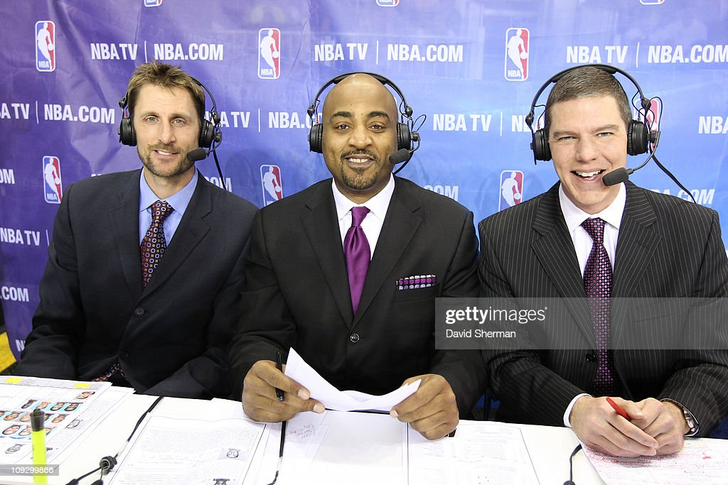 Brent Barry, Dennis Scott and Rick Kamla of NBA TV smile for a photo during the 2011 NBA D-League All-Star Game presented by SonoSite on center court at Jam Session presented by Adidas during NBA All Star Weekend at the Los Angeles Convention Center on February 19, 2011 in Los Angeles, California.