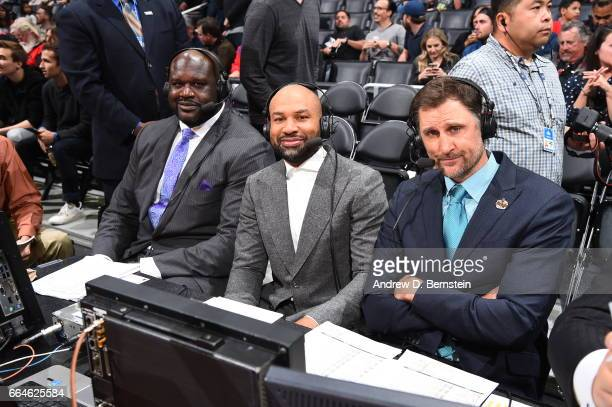 Brent Barry Derek Fisher and Shaquille O'Neal are seen during the game between the LA Clippers and the New York Knicks on March 20 2017 at STAPLES...