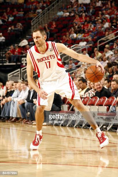 Brent Barry of the Houston Rockets dribbles during the game against the Denver Nuggets at Toyota Center on January 19 2009 in Houston Texas The...