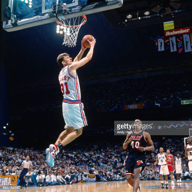 Brent Barry of the Los Angeles Clippers goes to dunk the ball during the 1996 Rookie Challenge played on February 10 1996 at the Alamodome in San...