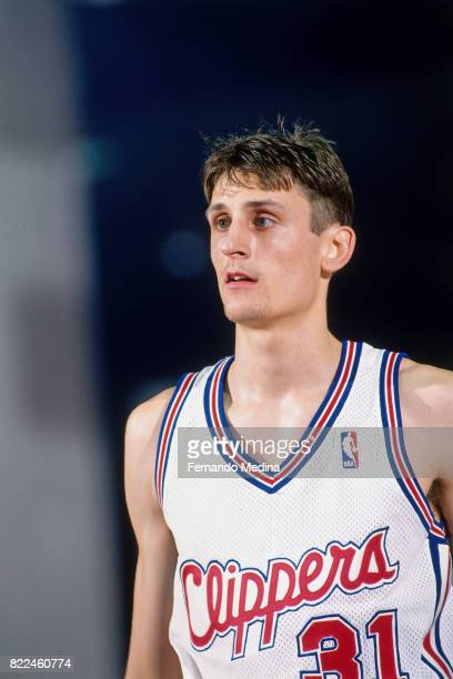 Brent Barry of the Los Angeles Clippers stands on the court during the 1996 Rookie Challenge Practice on February 9 1996 at the Alamodome in San...