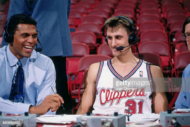 Brent Barry of the Los Angeles Clippers talks with the media before the game against the Sacramento Kings on November 26 1997 at Los Angeles Memorial...