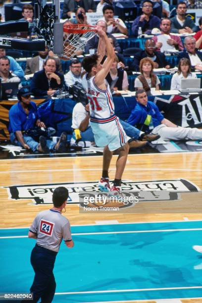 Brent Barry of the Los Angeles dunks during the 1996 Rookie Challenge played February 10 1996 at the Alamodome in San Antonio Texas NOTE TO USER User...