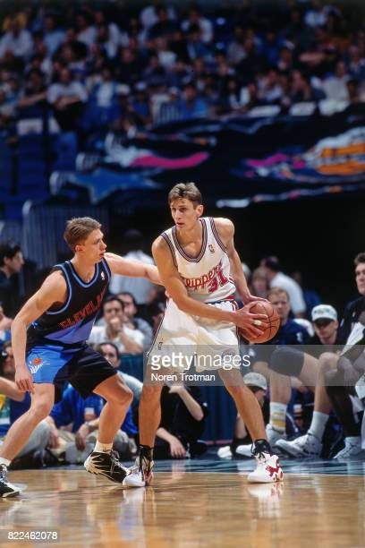 Brent Barry of the Los Angeles Lakers looks to pass during the 1996 Rookie Challenge played February 10 1996 at the Alamodome in San Antonio Texas...