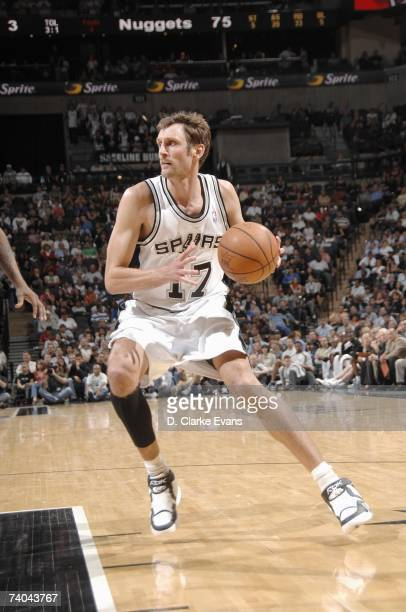 Brent Barry of the San Antonio Spurs dribbles against the Denver Nuggets during the game at the ATT Center on April 18 2007 in San Antonio Texas The...