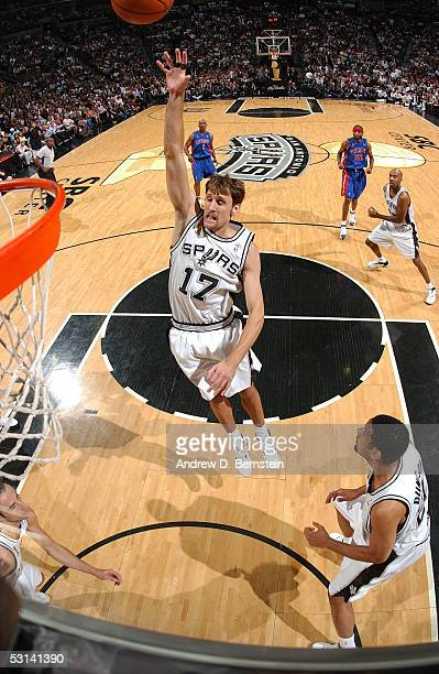 Brent Barry of the San Antonio Spurs shoots against the Detroit Pistons in Game seven of the 2005 NBA Finals on June 23 2005 at the SBS Center in San...