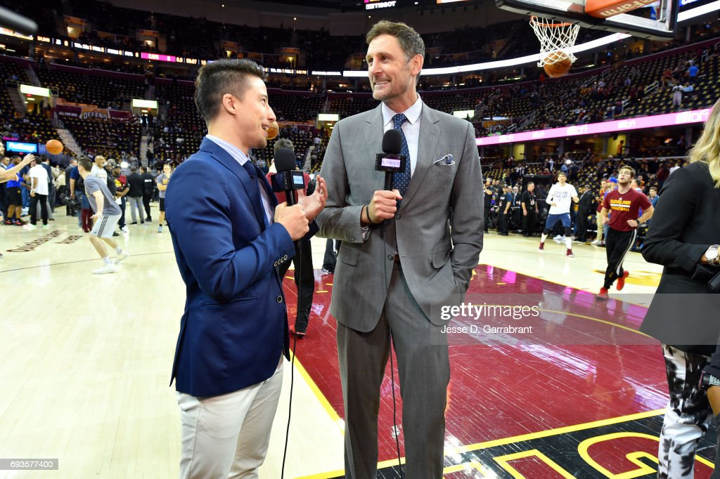 Brent Barry talks with the media before the game between the Cleveland Cavaliers and the Golden State Warriors in Game Three of the 2017 NBA Finals on June 7, 2017 at The Quicken Loans Arena in Cleveland, Ohio.