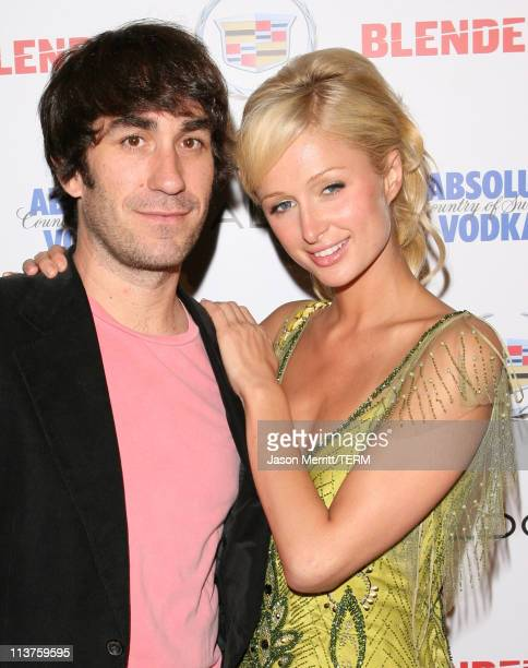 Brent Bolthouse and Paris Hilton during Blender Celebrates First Annual Rock Roll Hollywood Issue Arrivals at Private Residence in Hollywood...