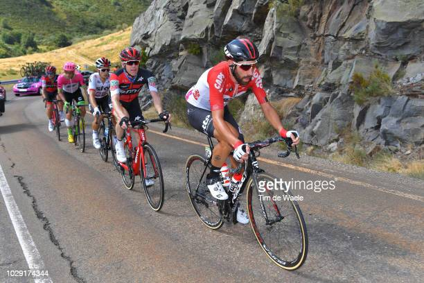Brent Bookwalter of The United States and BMC Racing Team / Michal Kwiatkowski of Poland and Team Sky / Michael Woods of Canada and Team EF Education...