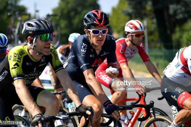 Brent Bookwalter of The United States and Team Mitchelton-Scott / Geraint Thomas of The United Kingdom and Team INEOS Grenadiers / feeding / during...