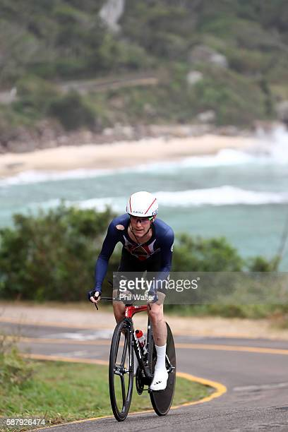Brent Bookwalter of the United States rides in the Men's Individual Time Trial on Day 5 of the Rio 2016 Olympic Games at Pontal on August 10, 2016 in...