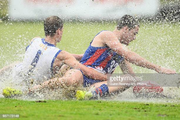 Brent Bredin of Eastern and Jack Ross of Oakleigh compete for the ball during the round one TAC Cup match between Oakleigh and Eastern at Frankston...