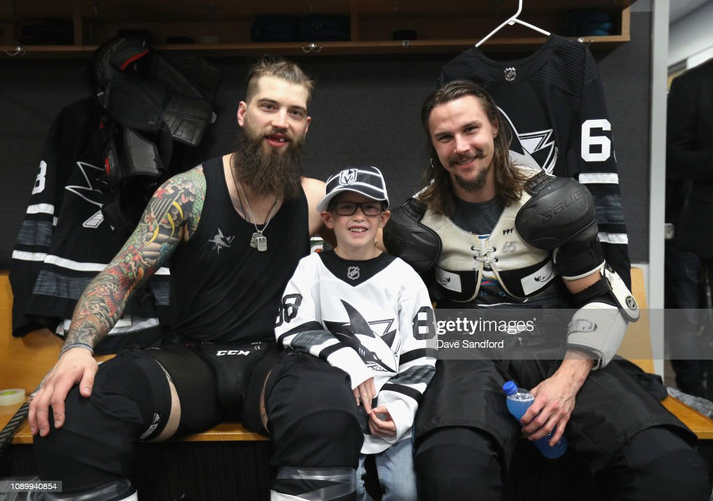 meet 401fe 4dd79 Brent Burns and son Jagger and Erik Karlsson of the San Jose ...