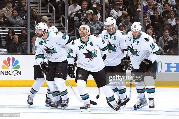 Brent Burns Dan Boyle Patrick Marleau and Joe Thornton of the San Jose Sharks skate against the Los Angeles Kings in Game Three of the First Round of...