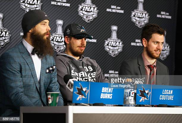 Brent Burns Logan Couture and goaltender Martin Jones of the San Jose Sharks speak to the media after their 42 victory over the Pittsburgh Penguins...