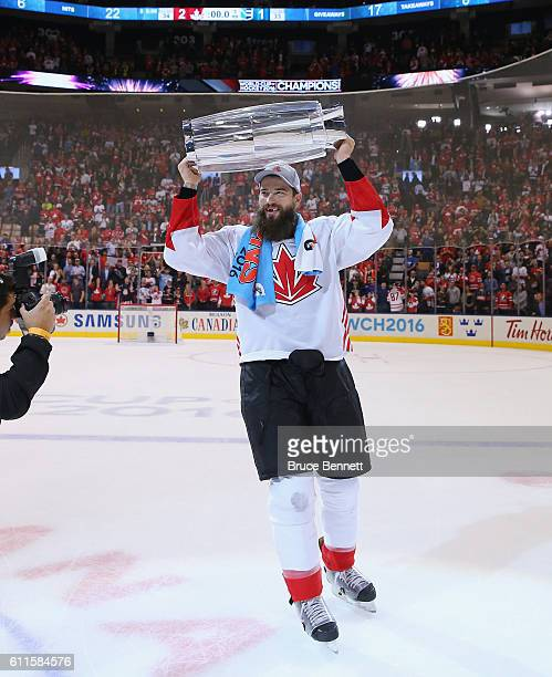 Brent Burns of Team Canada carries the World Cup of Hockey Trophy after Canada defeated Europe 21 during Game Two of the World Cup of Hockey final...