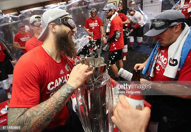 Brent Burns of Team Canada celebrates with the cup during Game Two of the World Cup of Hockey final series between Team Canada and Team Europe at the...