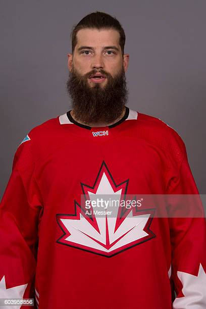 Brent Burns of Team Canada poses for his official headshot for the 2016 World Cup of Hockey Tournament on September 5 2016 at the Westin Ottawa in...