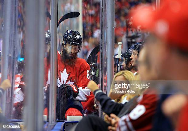 Brent Burns of Team Canada sits on the bench during Game One of the World Cup of Hockey final series against Team Europe at the Air Canada Centre on...