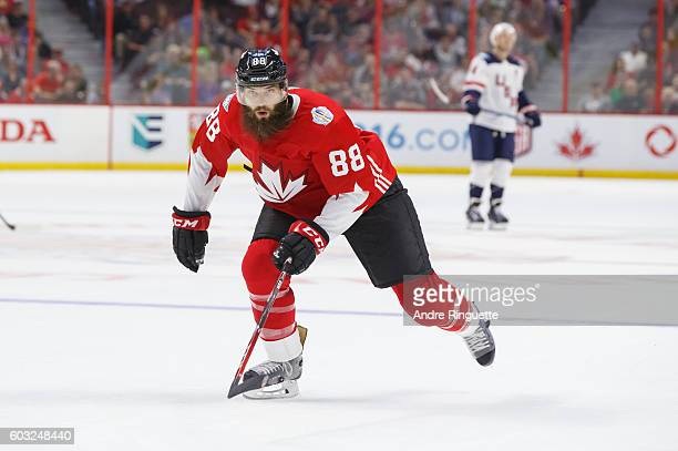 Brent Burns of Team Canada skates during the World Cup of Hockey 2016 PreTournament game between Canada and USA at Canadian Tire Centre on September...