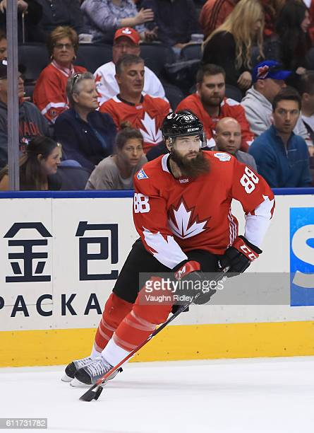 Brent Burns of Team Canada stickhandles the puck against Team Russia at the semifinal game during the World Cup of Hockey 2016 tournament at the Air...