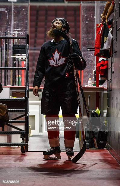 Brent Burns of Team Canada talks with fans as he leaves practice in preparation for the World Cup of Hockey at Canadian Tire Centre on September 12...