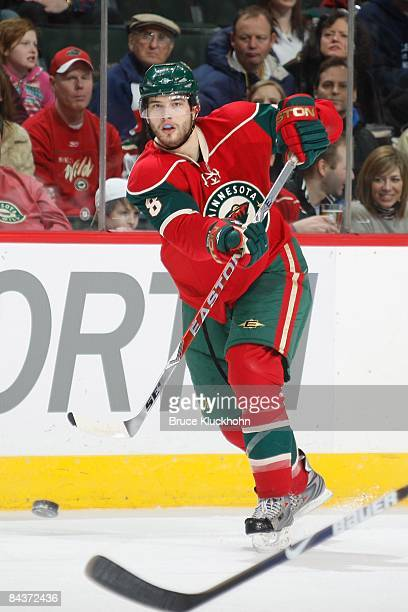 Brent Burns of the Minnesota Wild delivers a pass against the Edmonton Oilers during the game at the Xcel Energy Center on January 15 2009 in Saint...