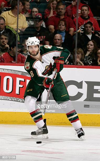 Brent Burns of the Minnesota Wild skates against the Calgary Flames on March 22, 2008 at Pengrowth Saddledome in Calgary, Alberta, Canada. The Flames...
