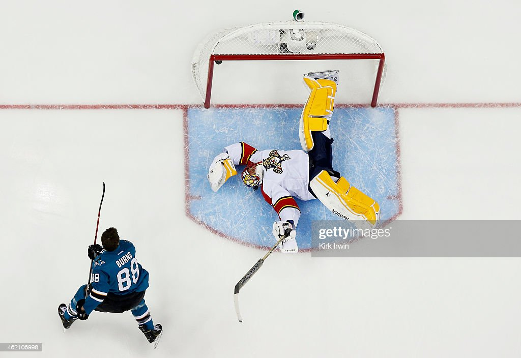Brent Burns #88 of the San Jose Sharks and Team Foligno takes a shot on Roberto Luongo #1 of the Florida Panthers and Team Toews during the Discover NHL Shootout event of the 2015 Honda NHL All-Star Skills Competition at Nationwide Arena on January 24, 2015 in Columbus, Ohio.