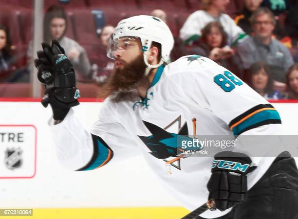 Brent Burns of the San Jose Sharks catches the puck during their NHL game against the Vancouver Canucks at Rogers Arena April 2 2017 in Vancouver...