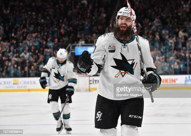 Brent Burns of the San Jose Sharks celebrate a gametying goal against the Los Angeles Kings at SAP Center on December 22 2018 in San Jose California