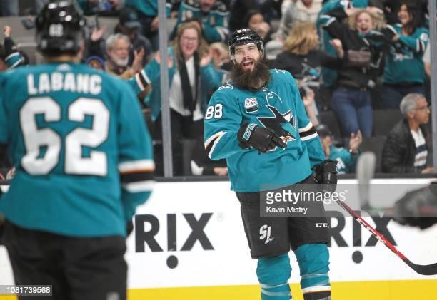Brent Burns of the San Jose Sharks celebrates a goal against the Ottawa Senators at SAP Center on January 12 2018 in San Jose California