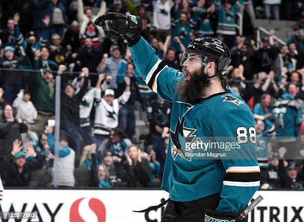Brent Burns of the San Jose Sharks celebrates a goal against the Chicago Blackhawks at SAP Center on March 3 2019 in San Jose California